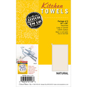 "Natural - Stitch 'Em Up Dish Towels 18""X28"" 2/Pkg"