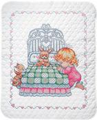 "36""x43"" - Bedtime Prayer Girl Quilt Stamped Cross Stitch Kit"