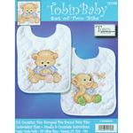 "8""X10"" Set Of 2 - Baby Bears Bib Pair Stamped Cross Stitch Kit"
