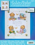 """11""""X14"""" 14 Count - Baby Bears Birth Record Counted Cross Stitch Kit"""