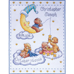 "11""X14"" 14 Count - Bears In Clouds Birth Record Counted Cross Stitch Kit"