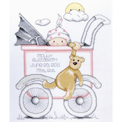 """13""""X15"""" 14 Count - Baby Buggy Girl Birth Record Counted Cross Stitch Kit"""