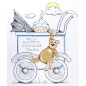 """13""""X15"""" 14 Count - Baby Buggy Boy Birth Record Counted Cross Stitch Kit"""