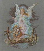"""7-1/2""""X9-7/8"""" 14 Count - Guardian Angel Counted Cross Stitch Kit"""
