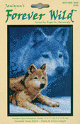 """5""""X7"""" 14 Count - Forever Wild Wolf Mini Counted Cross Stitch Kit"""