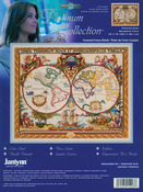 """18""""X15"""" 14 Count - Platinum Collection Olde World Map Counted Cross Stitch Kit"""