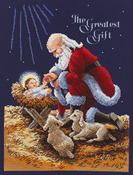 """11""""X14-1/2"""" 14 Count - Kneeling Santa Counted Cross Stitch Kit"""