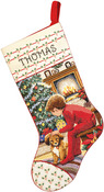 """18"""" Long 14 Count - Waiting For Santa Stocking Counted Cross Stitch Kit"""