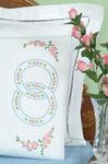 Wedding Rings - Stamped Pillowcases With White Perle Edge 2/Pkg