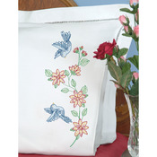 Birds - Stamped Pillowcases With White Perle Edge 2/Pkg