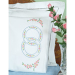 Wedding Rings - Stamped Pillowcases With White Lace Edge 2/Pkg