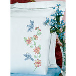 Birds - Stamped Pillowcases With White Lace Edge 2/Pkg
