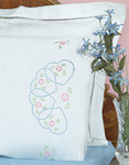 Starburst Of Hearts - Stamped Pillowcases With White Lace Edge 2/Pkg