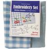 Spring Cherries Kitchen Stitches Embroidery Set - Blue & White Check