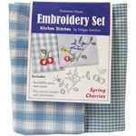 Spring Cherries Kitchen Stitches Embroidery Set - Blue & White Check