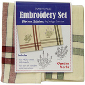 Garden Herbs Kitchen Stitches Embroidery Set - Cream W/Red & Cream W/Green Side