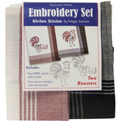 Two Roosters Kitchen Stitches Embroidery Set - White W/Red & Black W/Black Strip
