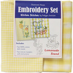 Yellow & White Check - Lemonade Stand Kitchen Stitches Embroidery Set