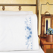 """20""""X30"""" - Blue Floral Pillowcase Pair Stamped Cross Stitch"""