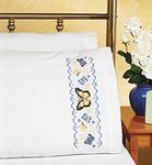 """20""""X30"""" - Butterflies Pillowcase Pair Stamped Cross Stitch"""