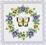 "18""X18"" 6/Pkg - Pansy Wreath Quilt Blocks Stamped Cross Stitch"