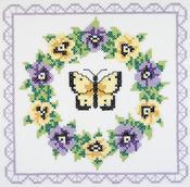 "18""X18"" 6/Pkg - Pansy Wreath Quilt Blocks Stamped Cross Stitch"