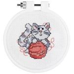 "3"" Round 14 Count - Kid Stitch Kitty Mini Counted Cross Stitch Kit"