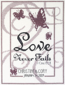 """6""""X8"""" 14 Count - Love Never Fails Counted Cross Stitch Kit"""