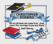 """13""""X10"""" 14 Count - Graduation Dreams Counted Cross Stitch Kit"""