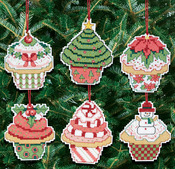 "3""X3"" 14 Count Set Of 6 - Christmas Cupcake Ornaments Counted Cross Stitch Kit"
