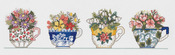 """20""""X5"""" 14 Count - Row Of Teacups Counted Cross Stitch Kit"""