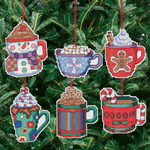 "3-1/2""X3-1/2"" 14 Count Set Of 6 - Cocoa Mug Ornaments Counted Cross Stitch Kit"
