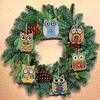 """3""""X3"""" 14 Count Set Of 6 - Owl Ornaments Counted Cross Stitch Kit"""