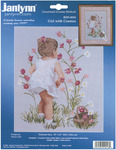 """12""""X16"""" 14 Count - Girl With Cosmos Counted Cross Stitch Kit"""
