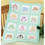 "Stamped White Nursery Quilt Blocks 9""X9"" 12/Pkg - Peek - A - Boo"