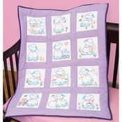 """Sunbonnet Sue - Stamped White Nursery Quilt Blocks 9""""X9"""" 12/Pkg"""