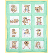 "Teddy Bears - Stamped White Quilt Blocks 9""X9"" 12/Pkg"