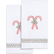 "Candy Canes - Stamped White Decorative Hand Towel 17""X28"" One Pair"