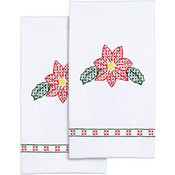 "Poinsettias - Stamped White Decorative Hand Towel 17""X28"" One Pair"