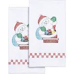 "Santa - Stamped White Decorative Hand Towel 17""X28"" One Pair"