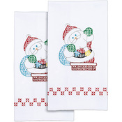 "Santa - Stamped White Decorative Hand Towel 17""X28"" One Pair"
