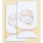 "Thanksgiving - Stamped White Decorative Hand Towel 17""X28"" One Pair"