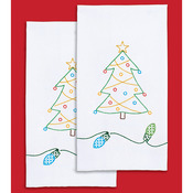 "Christmas - Stamped White Decorative Hand Towel 17""X28"" One Pair"
