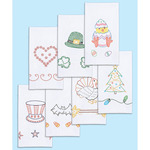 """Holidays Of The Year - Stamped White Decorative Hand Towels 15""""X30"""" Set Of 7"""