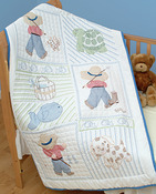 "Stamped White Quilt Crib Top 40""X60""-Little Boys"