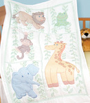 "Jungle Fun - Stamped White Quilt Crib Top 40""X60"""