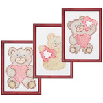 "Fuzzy Bears - Stamped Embroidery Kit Beginner Samplers 6""X8"" 3/Pkg"