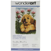 "Flower Pup - Wonderart Latch Hook Kit 15""X20"""