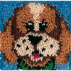 Puppy - Wonderart Latch Hook Kit 8 X8  CARON-Wonderart Latch Hook Kit. These extra shaggy rugs are wonderfully lush and can be made to fit any decor motif. The possibilities are astounding, you can use them on the floor, wall, sofa, bed, window or even make them into pillows and seat cushions. They are easy to make, it would be a wonderful family project! This kit contains color coded canvas, pre-cut rug yarn, a chart and instructions. Hook tool and finishing materials are not included. Finished Size: 8x8 inches. Design: Puppy. Made in USA.
