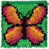 Butterfly - Wonderart Latch Hook Kit 8 X8  CARON-Wonderart Latch Hook Kit. These extra shaggy rugs are wonderfully lush and can be made to fit any decor motif. The possibilities are astounding, you can use them on the floor, wall, sofa, bed, window or even make them into pillows and seat cushions. They are easy to make, it would be a wonderful family project! This kit contains color coded canvas, pre-cut rug yarn, a chart and instructions. Hook tool and finishing materials are not included. Finished Size: 8x8 inches. Design: Butterfly. Made in USA.